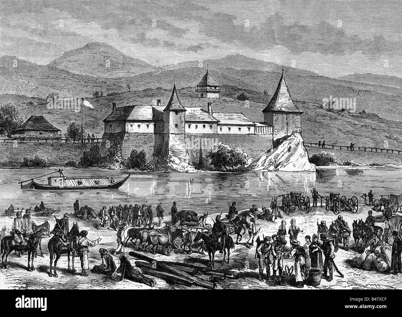geography / travel, Bosnia and Herzegovina, occupation by Austro-Hungarian troops, camp near Kostainitza, wood engraving - Stock Image