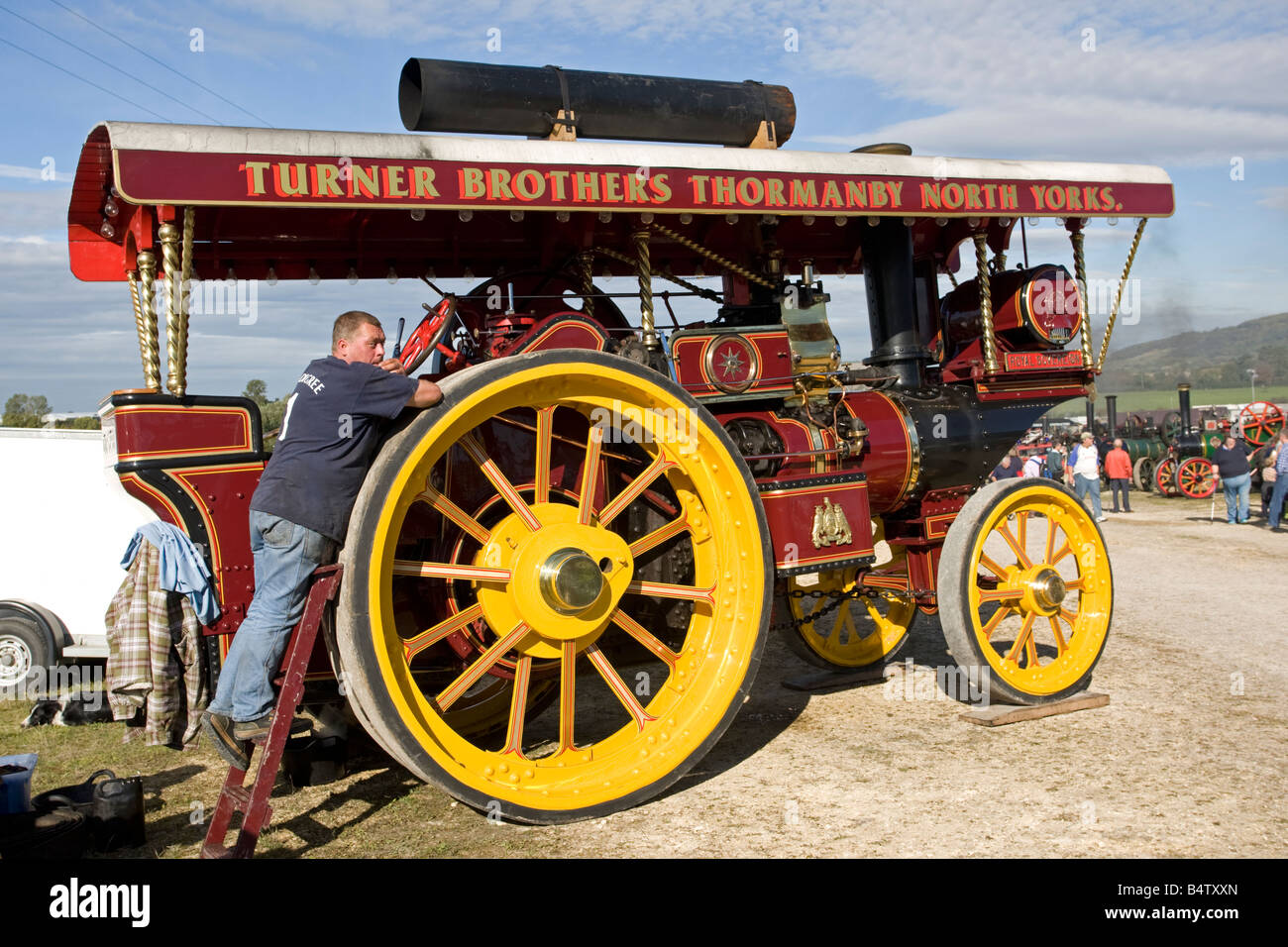 Fowler Showmans tractor Steam Engine Rally Royal Sovereign Cheltenham Racecourse UK - Stock Image