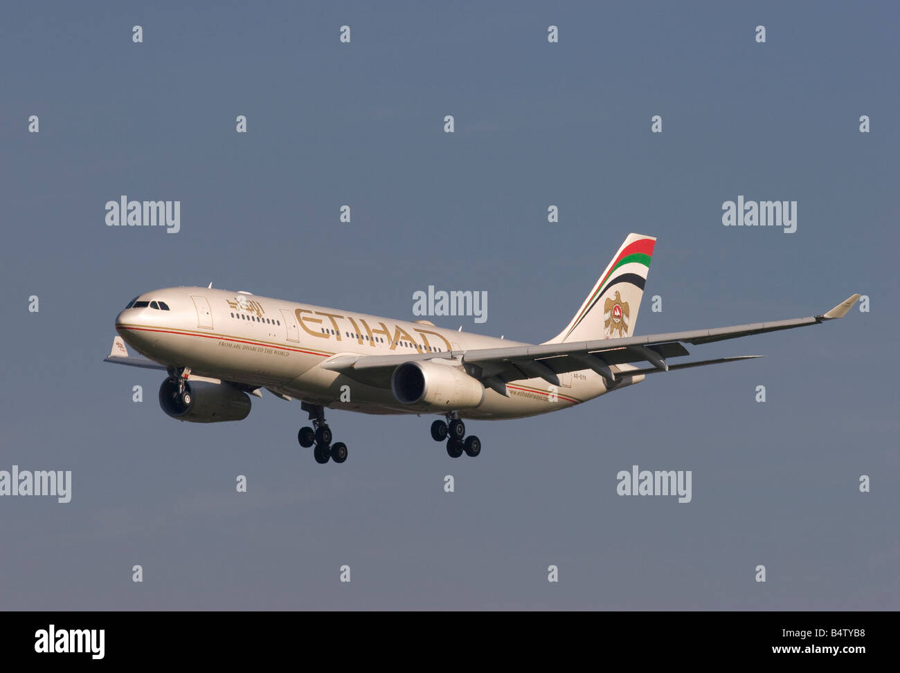 Etihad Airways Airbus A330 243 landing at London Heathrow - Stock Image