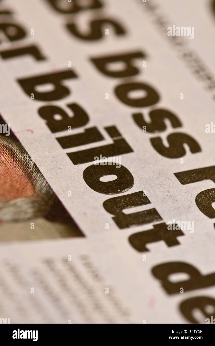 Newspaper headline reporting government financial bailout of UK banks. - Stock Image