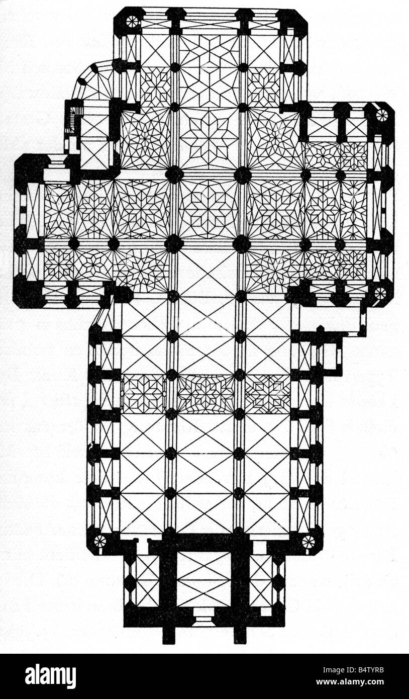 architecture, floor plans, Basilica Saint Mary, Gdansk, built 1343 - 1502, wood engraving, 19th century, plan, catholic - Stock Image