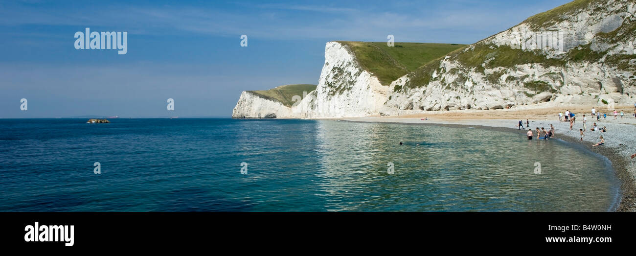 Chalk Cliffs of Swyre Head and Bat's Head as seen from Durdle Door Dorset England UK Stock Photo