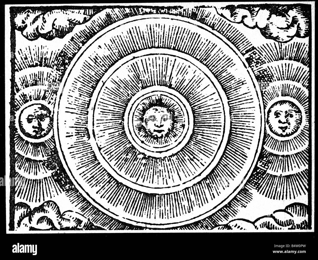 astronomy, sun, sun dogs woodcut, 'Historia de Gentibus Septentrionalibus' by Olaus Magnus, 1555, German - Stock Image