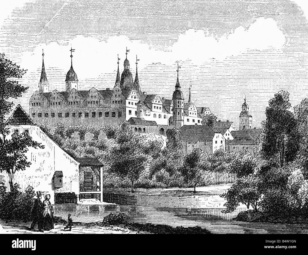 geography / travel, Germany, Merseburg, castle, exterior view, Mechau Mill in foreground, wood engraving, circa - Stock Image