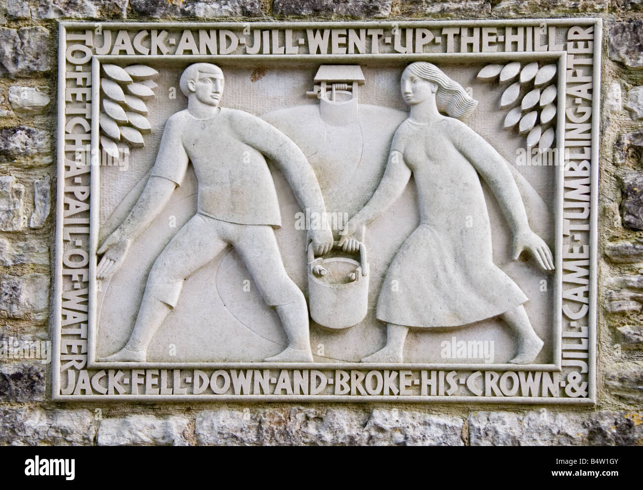 A stone plaque depicting the Jack and Jill Nursery Rhyme, Kilmersdon, Somerset, UK - Stock Image