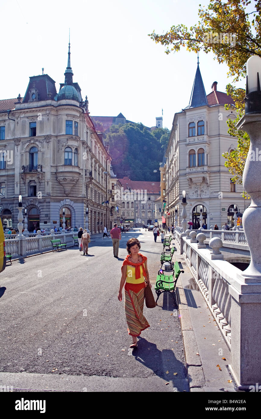 Pedestrians on Tromostovje Bridge in Slovenian capital Ljubljana Slovenia Europe - Stock Image