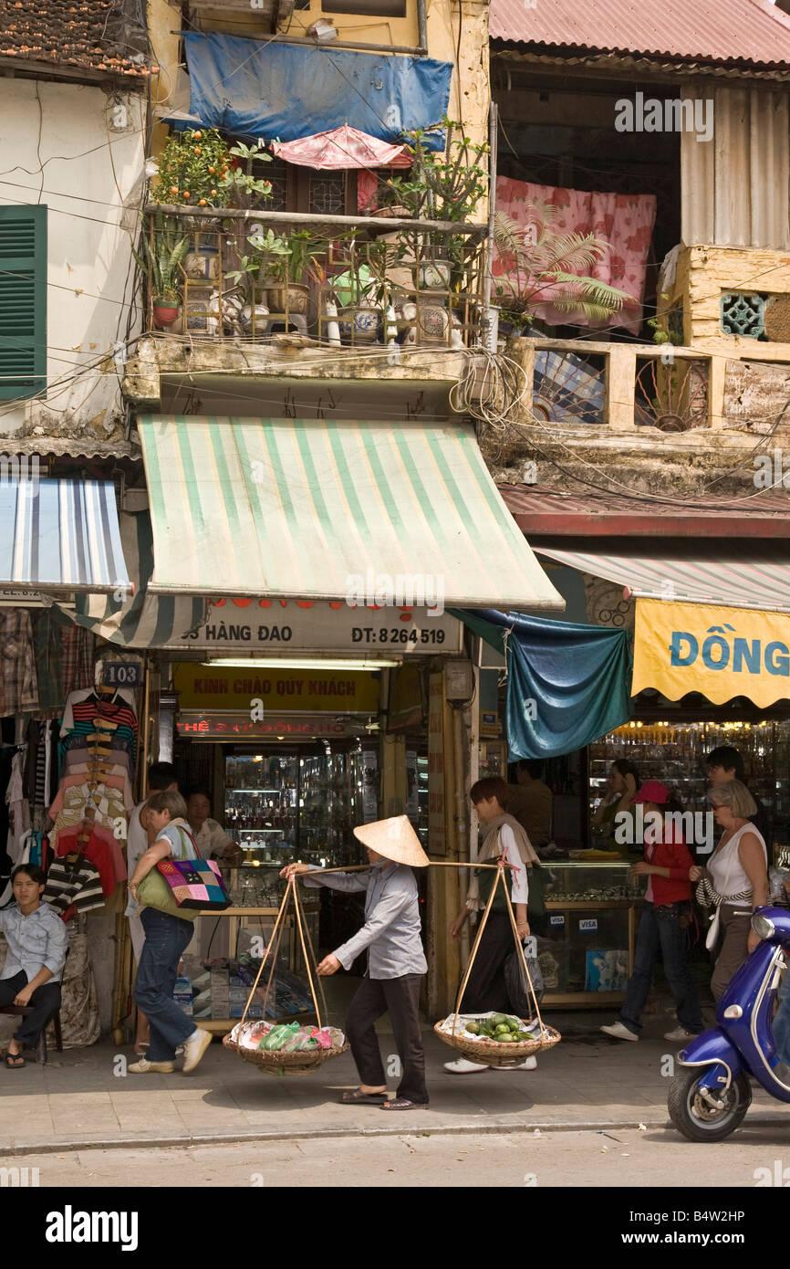 Shopping street Hanoi Vietnam Stock Photo