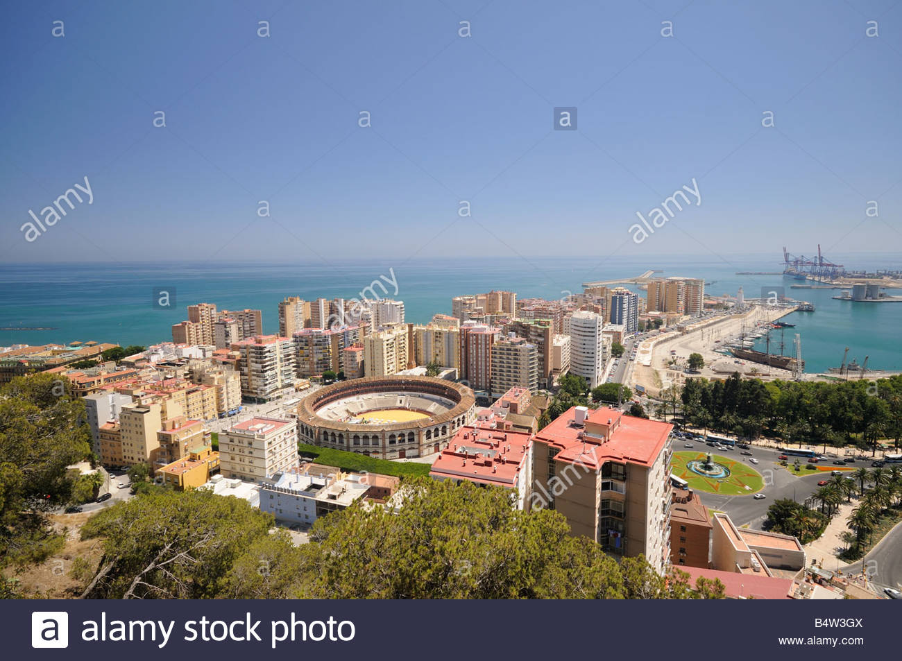 Malaga and it's harbour and bullring arena on the Costa del Sol, Andalusia, Southern Spain, on the path to the - Stock Image