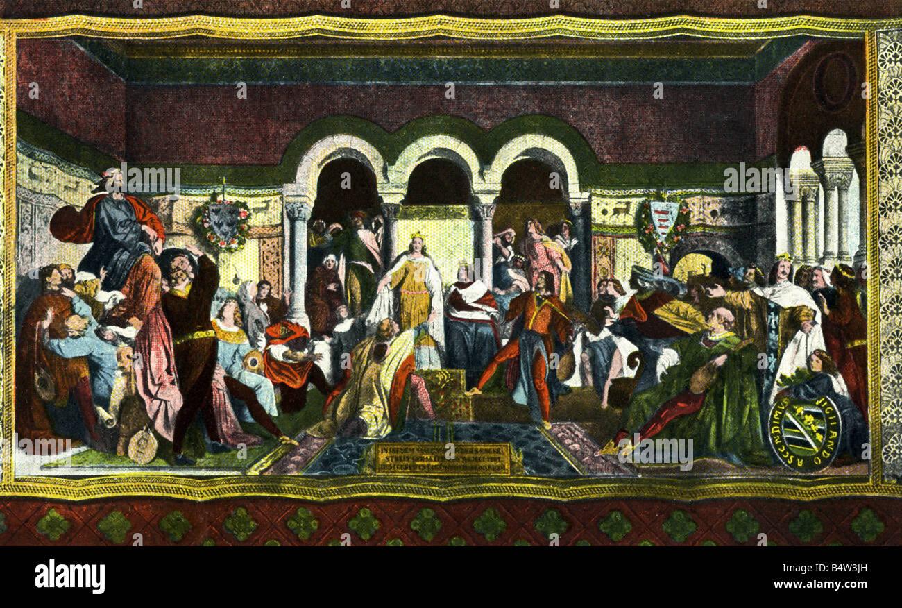 middle ages, music, Wartburg minstrels contest, 1206, mural painting by Moritz von Schwind, Wartburg, 1855, art - Stock Image