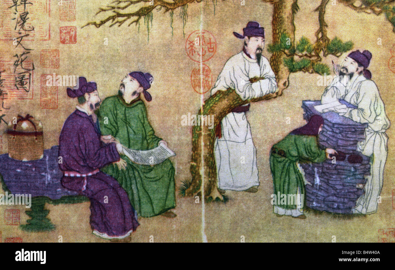 geography / travel, people, Scholars or The Garden of Literature, painting, by Han Hwang (Han Huang), 8th century, - Stock Image