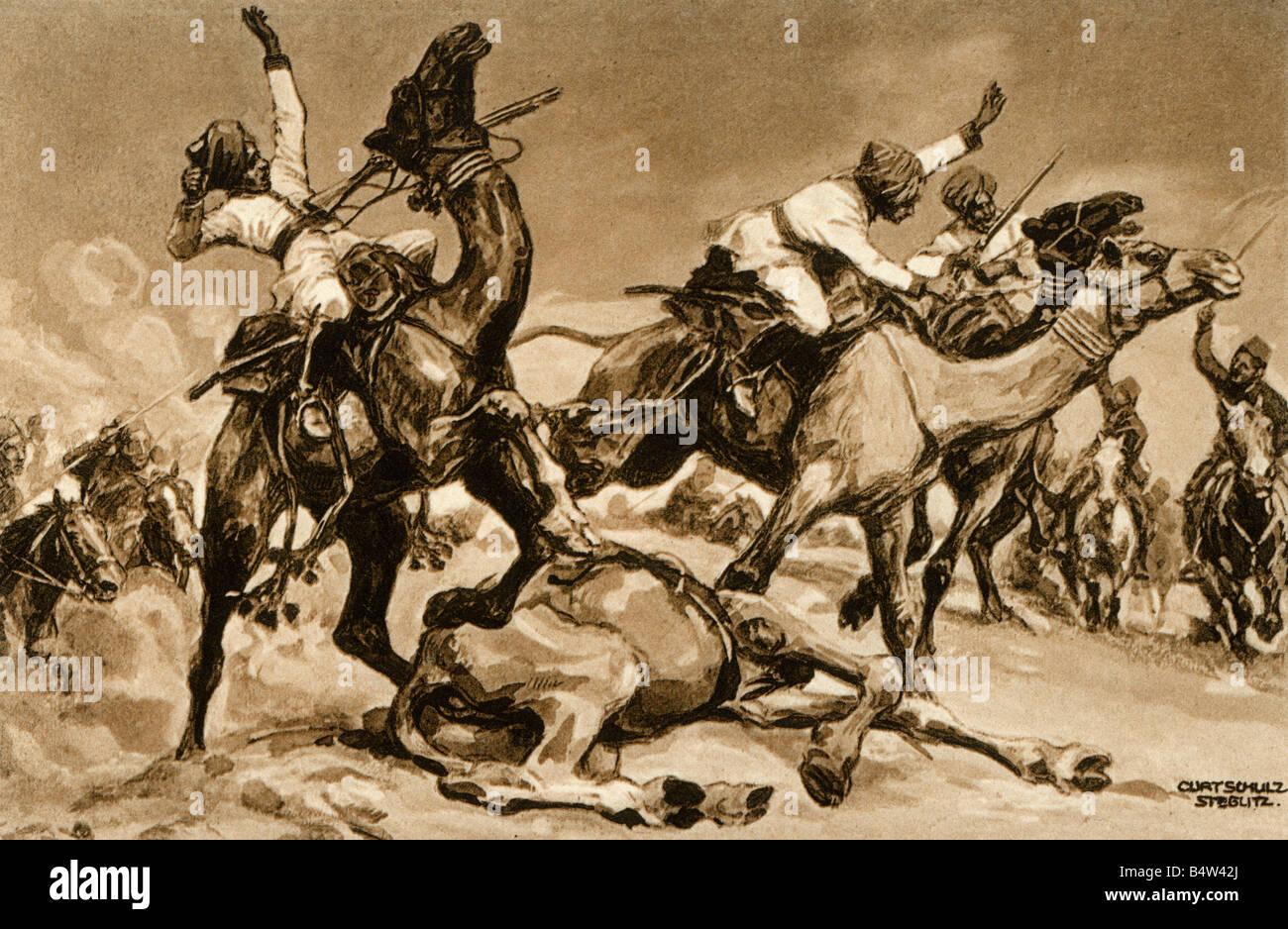 events, First World War / WWI, military postcards, 'Gefecht der Tuerken mit indischen Kamelreitern am Suezkanal' - Stock Image