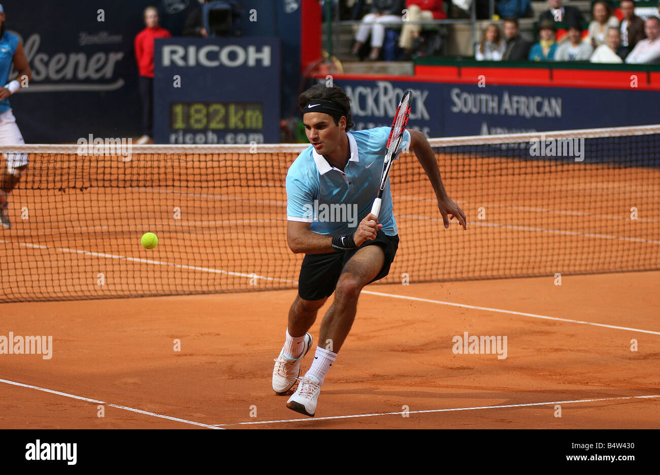 Roger Federer (SUI) in action against Rafael Nadal (ESP) ATP Masters Series tennis tournament in Hamburg Germany - Stock Image