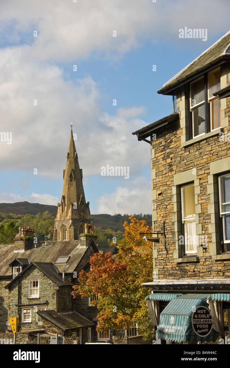 Ambleside Lake District UK sandstone spire St Marys Church parish church - Stock Image