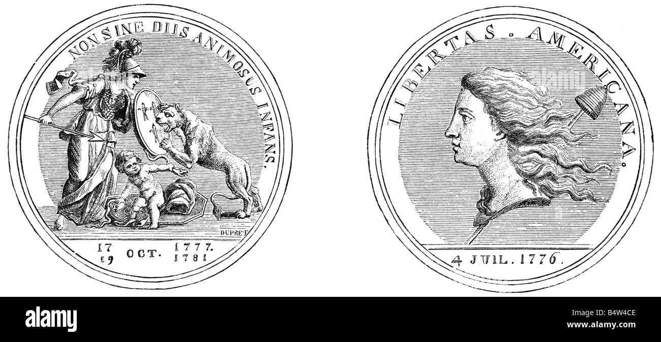 events, American Revolutionary War 1775 - 1783, politics, alliance between th USA and France, medal, France, 1781, - Stock Image