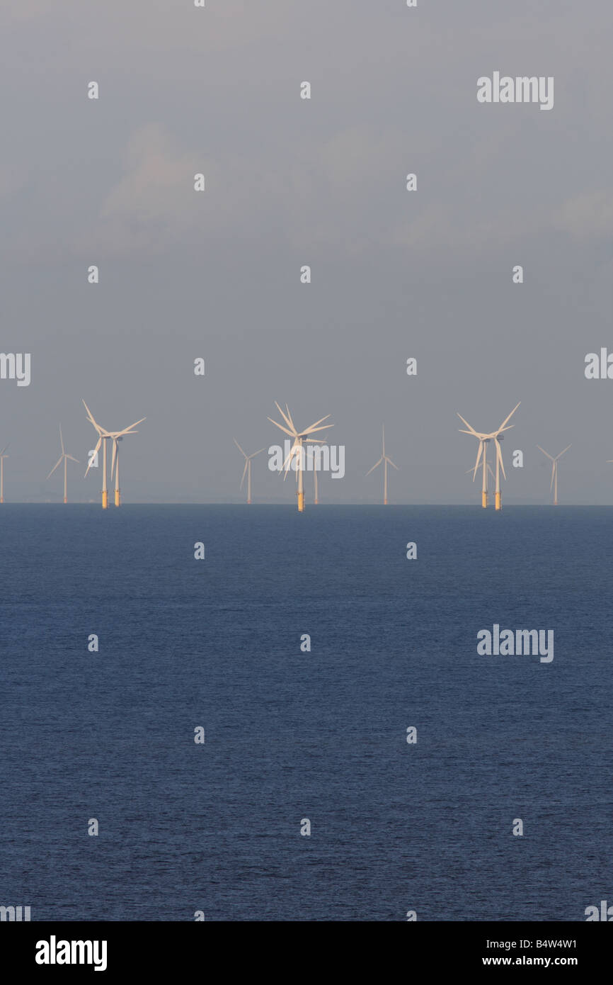 WIND TURBINES OFF SHORE NORTH WALES - Stock Image