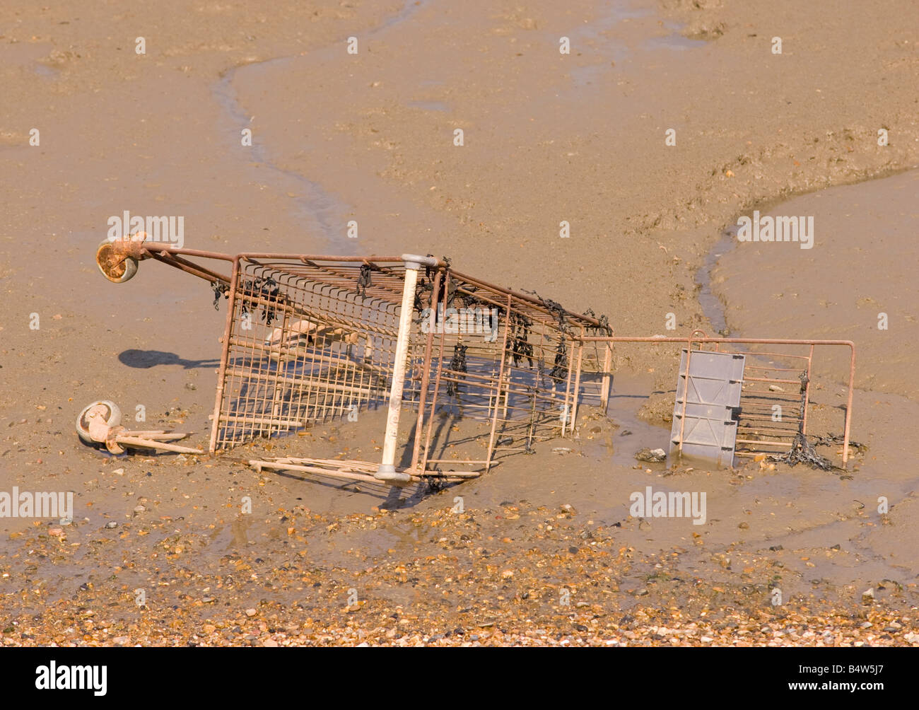 Shopping trolley dumped in a river Stock Photo