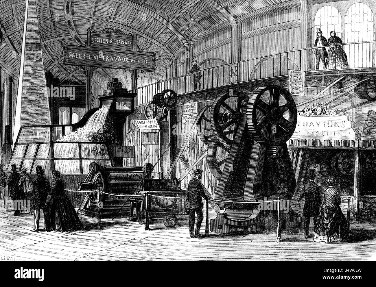 exhibitions, world exposition, Paris, 1.4.1867 - 31.12.1867, British machines, wood engraving after drawing by Gaildrau, - Stock Image