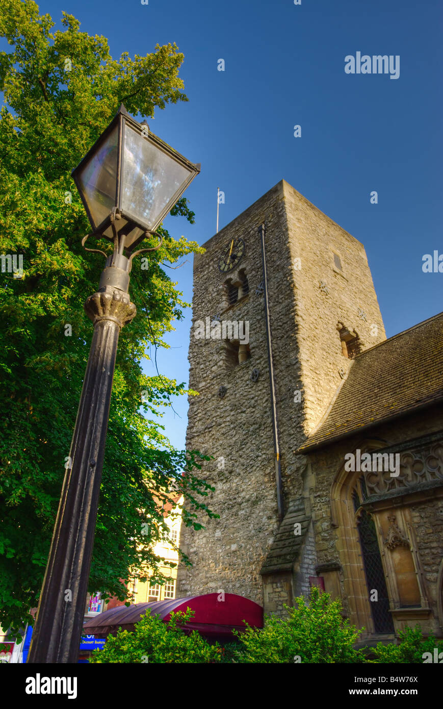 Saxon Tower of St Michael at the North Gate Church, Cornmarket, Oxford, England, UK (portrait version) Stock Photo