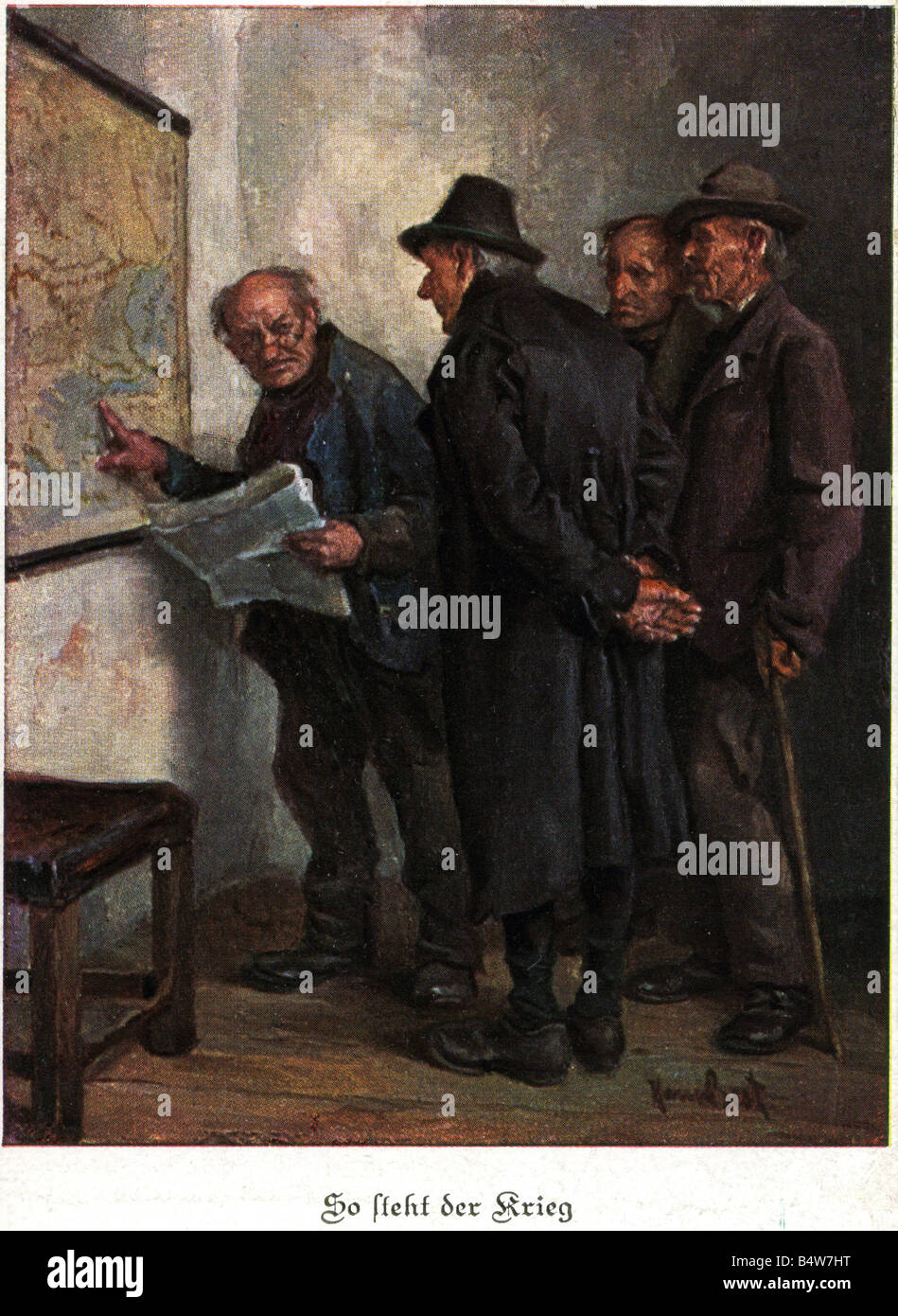 events, First World War / WWI, military postcards, postcard 'So steht der Krieg' (That is the course of - Stock Image