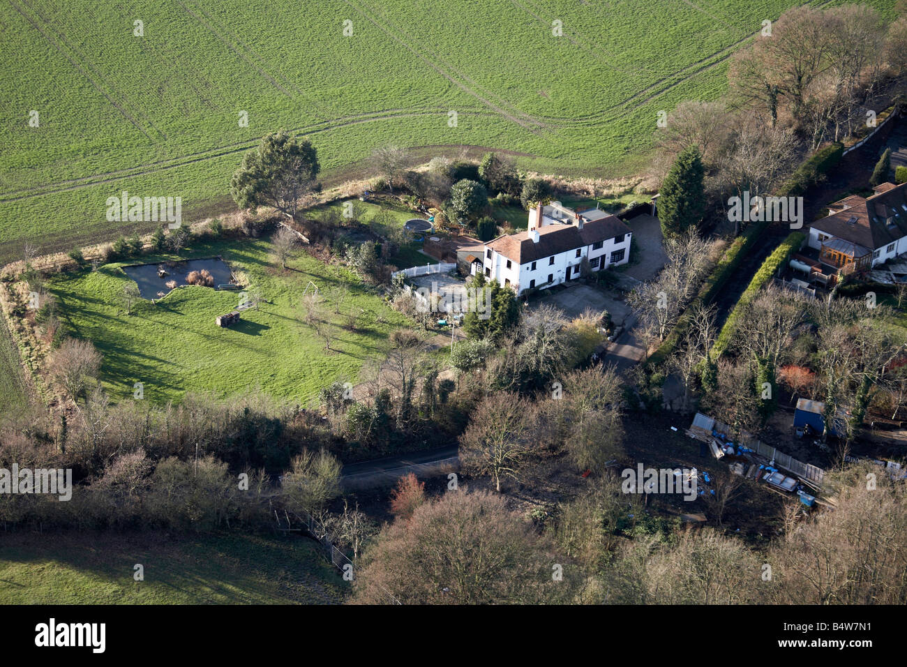 Aerial view north west of country houses country fields Romford Essex RM4 England UK - Stock Image