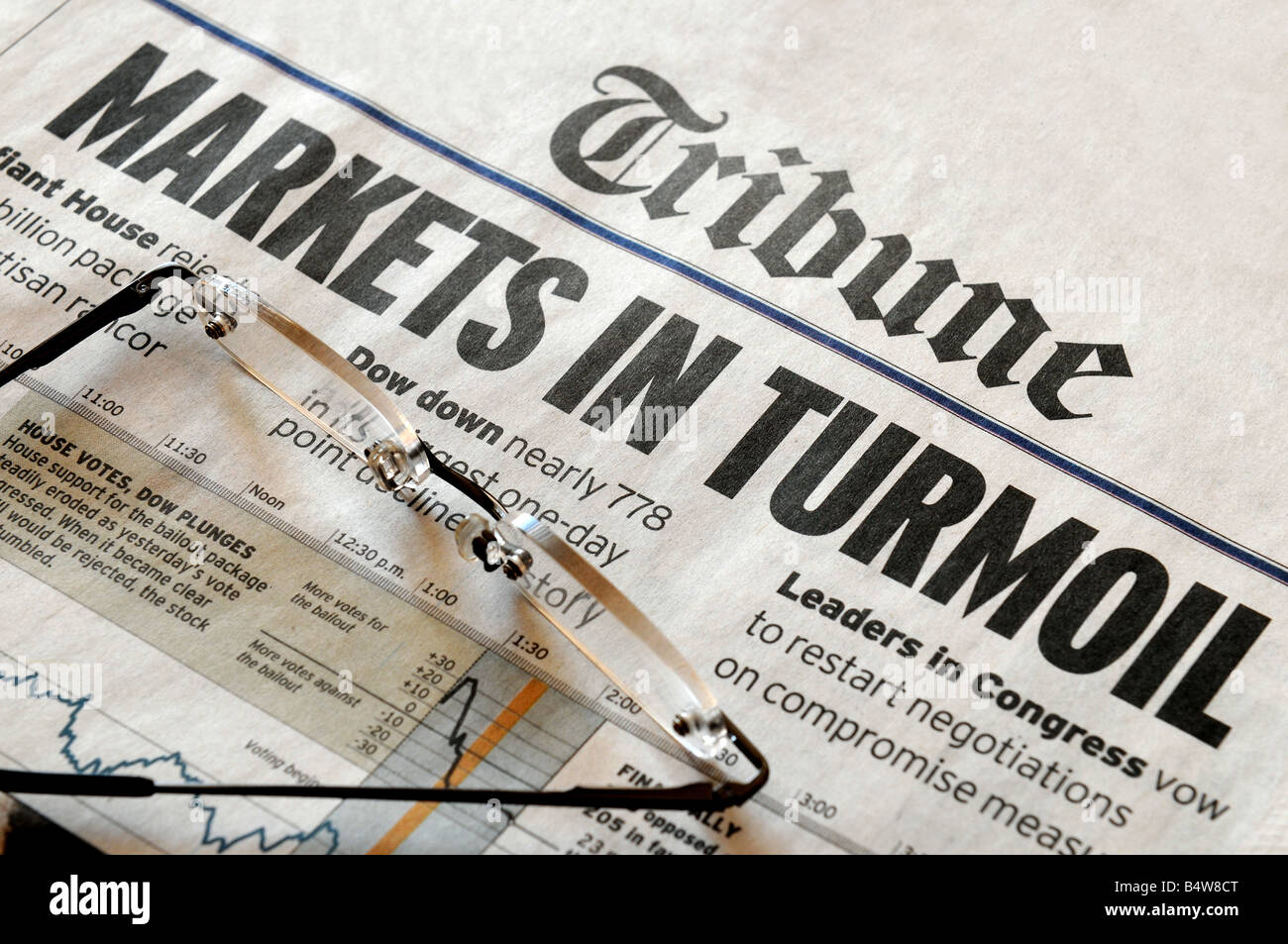 Markets In Turmoil - stock market headlines from an (unknown) Tribune newapsper - Stock Image