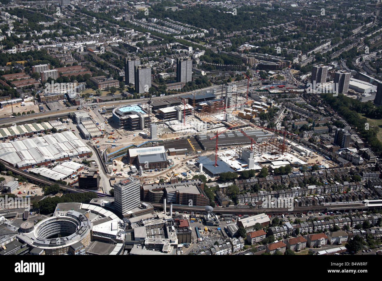 Aerial view south east of BBC TV Centre Wood Lane Westfield White City Development Construction Site London W12 - Stock Image