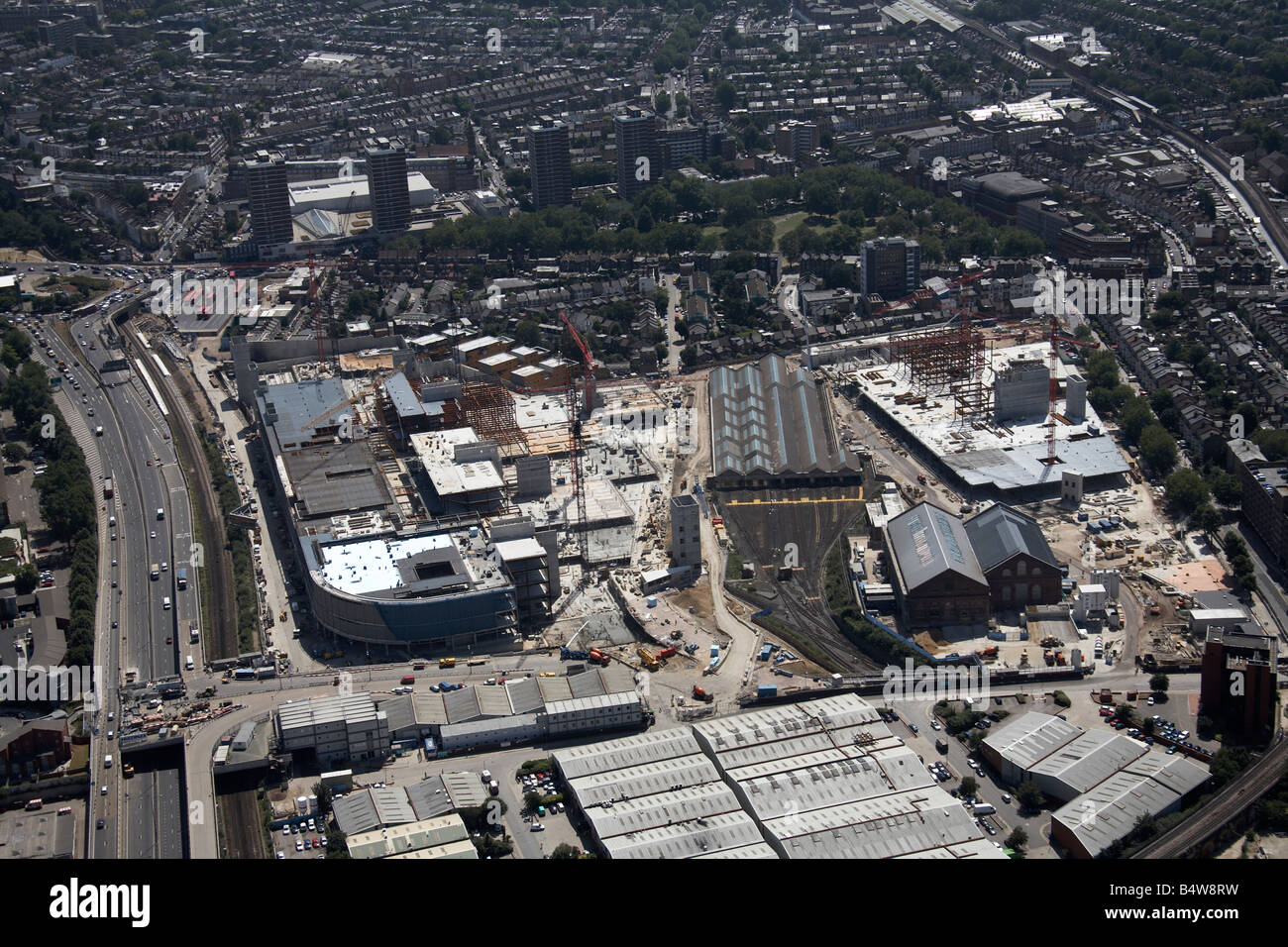 Aerial view south of Shepherd s Bush Common Westfield White City Development Construction Site London W12 England - Stock Image
