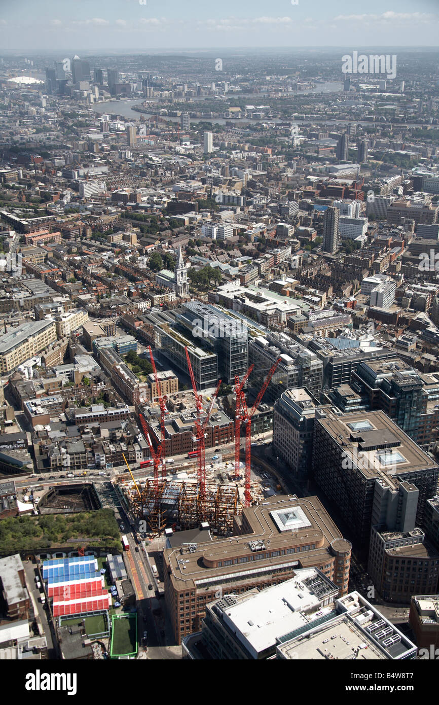 Aerial view south east of Broadgate Tower Construction Site City of London River Thames Canary Wharf Tower Blocks Stock Photo