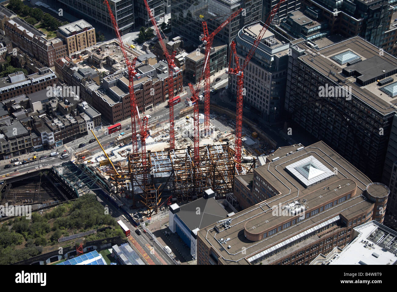 Aerial view south east of Broadgate Tower Construction Site Norton Folgate City of London EC2 E1 England UK High - Stock Image