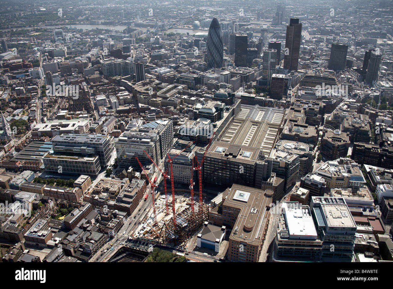 Aerial view south of Broadgate Tower Construction Site Liverpool Street Station City of London tower blocks The - Stock Image