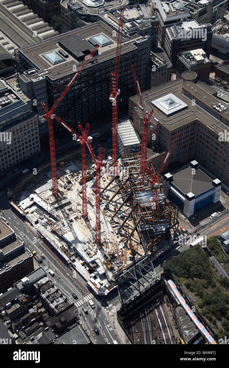 Aerial view south west of Broadgate Tower Construction Site Primrose Street City of London EC2 England UK High level - Stock Image