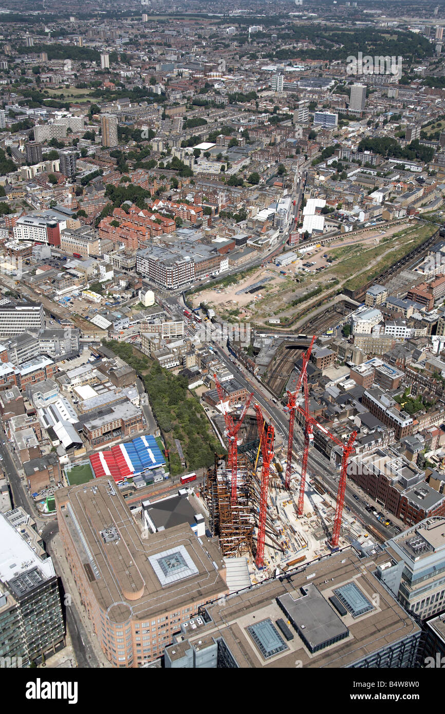 Aerial view north east of Broadgate Tower Construction Site urban housing City of London Hackney EC2 N1 England - Stock Image