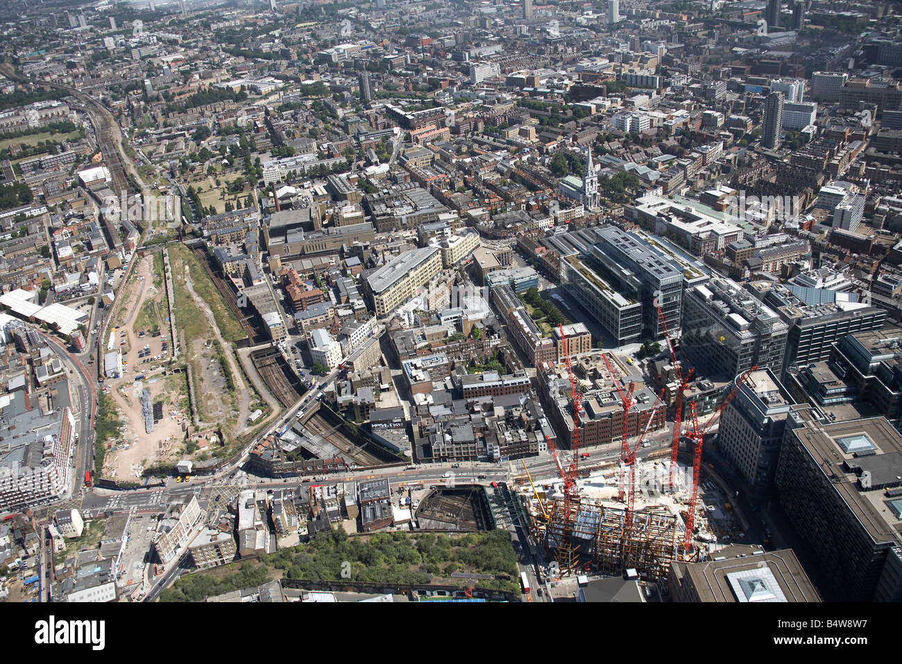 Aeril view south east of Broadgate Tower Construction Site Shoreditch High Street Commercial Street City of London - Stock Image