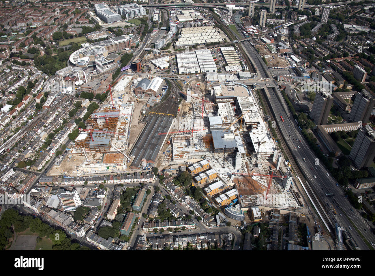 Aerial view north of Westfield White City Development Construction Site BBC Television Centre West Cross Route London Stock Photo