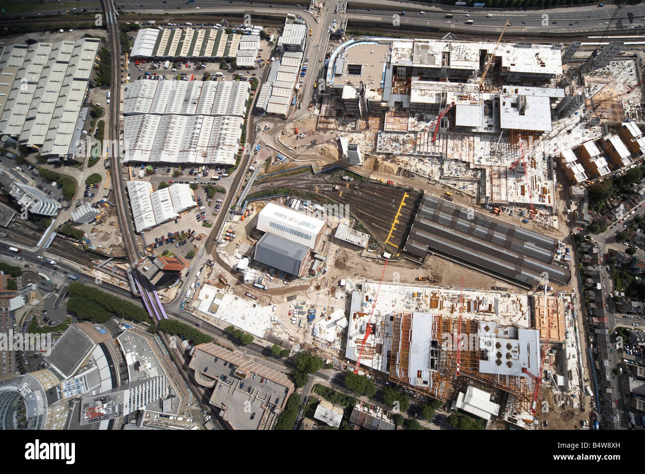 Aerial view north east of Westfield White City Development Construction Site West Cross Route Wood Lane London W12 - Stock Image