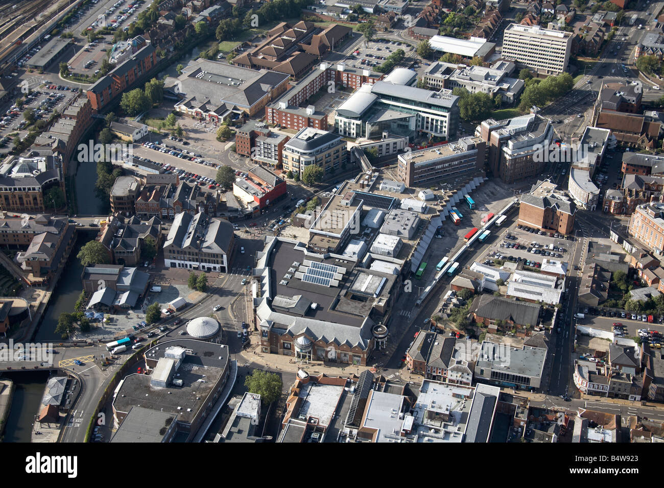 Aerial view north west of Guildford Town Centre Onslow Street North Street Commercial Road River Wey Surrey GU1 - Stock Image