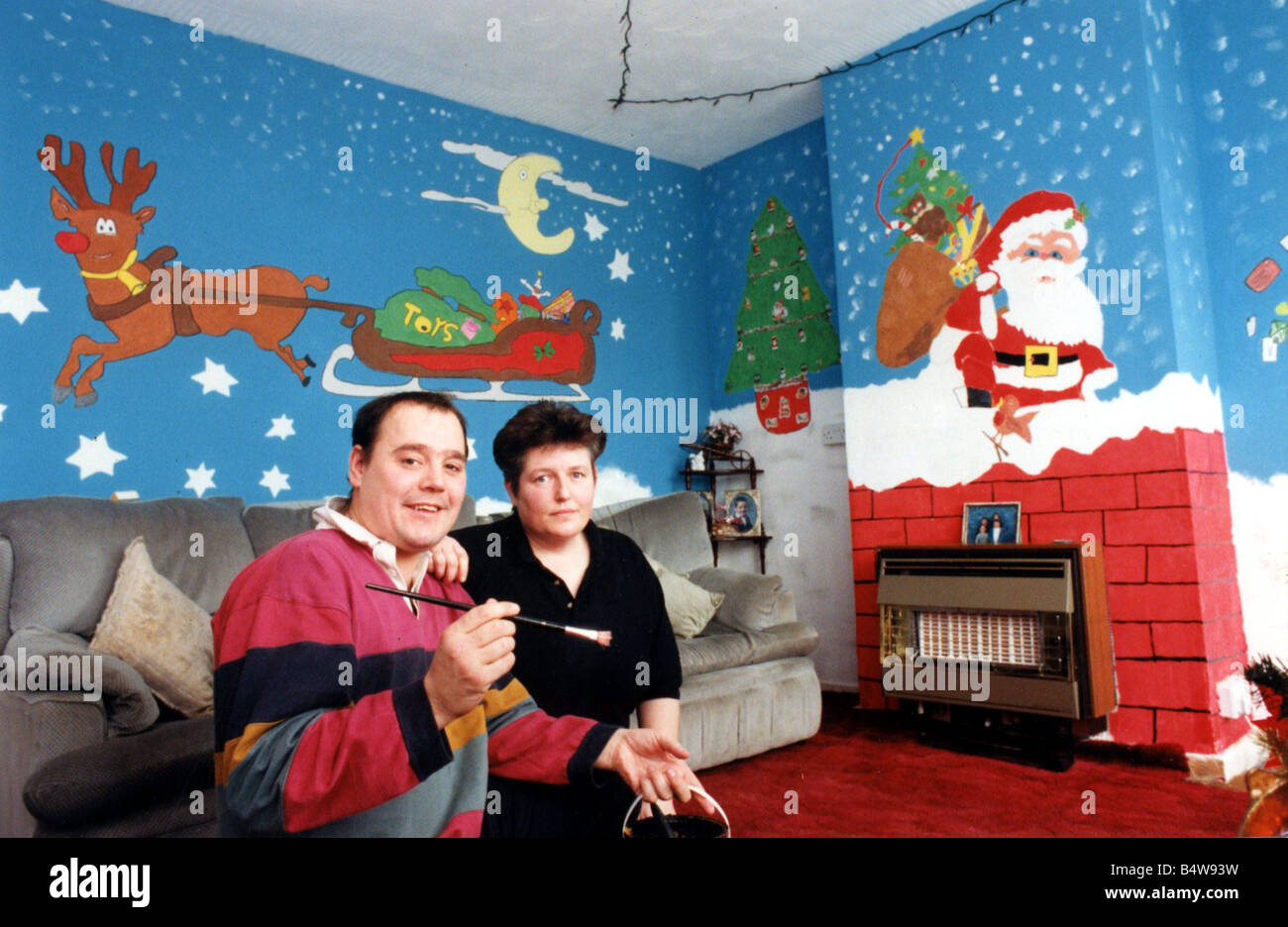 Christmas Phillip And Jane Carter Who Painted Their Own Winter Wonderland In Lounge Of