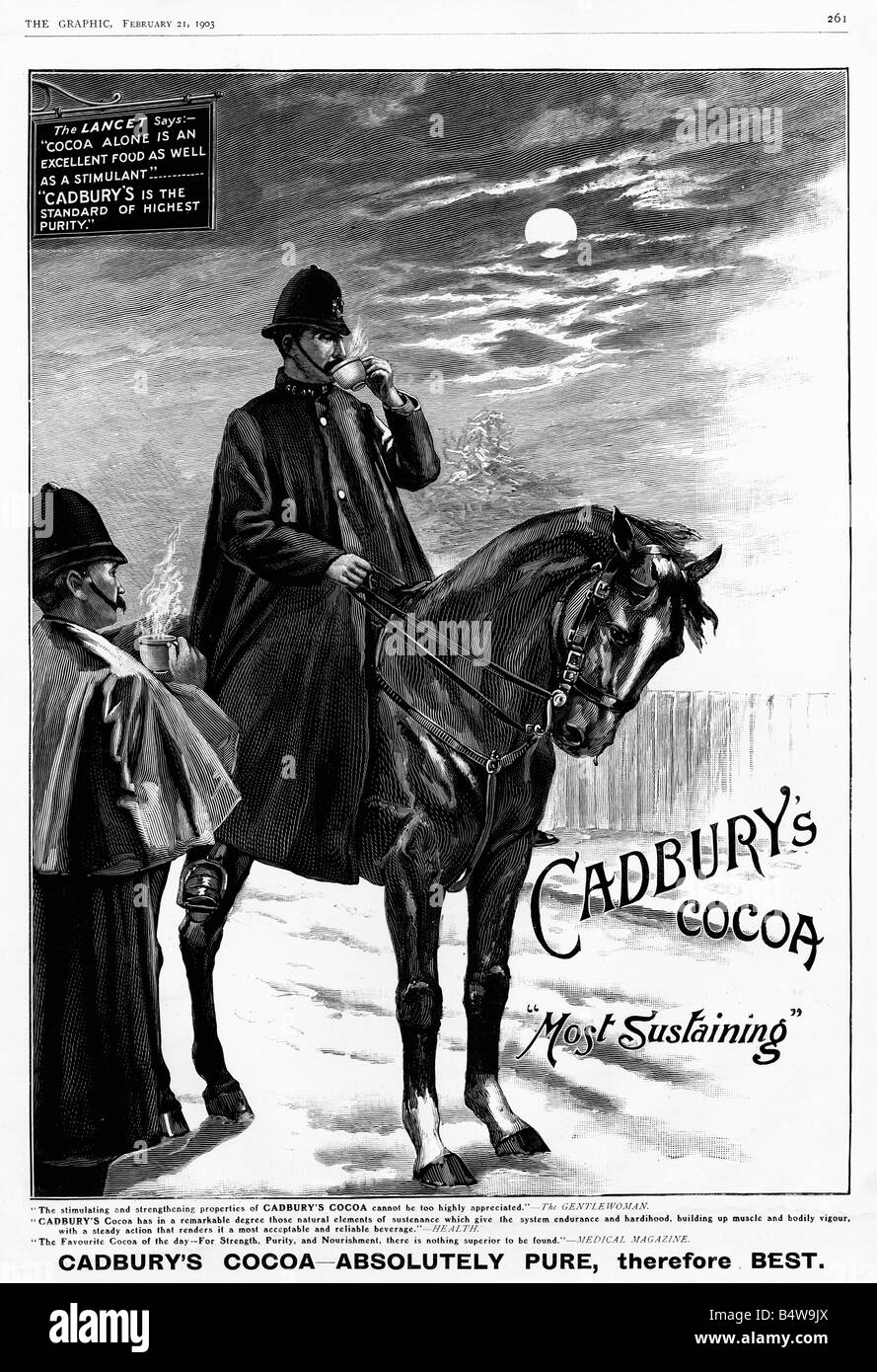 Cadburys Police Horse Edwardian magazine advert for the hot drink Most Sustaining for the mounted police - Stock Image