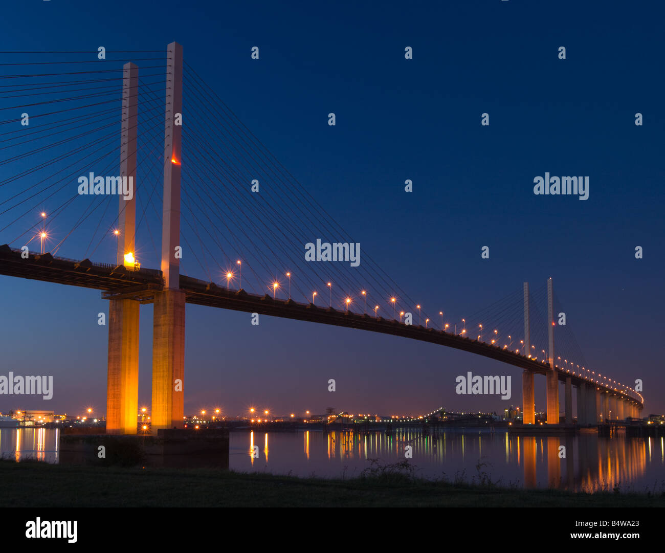 The Dartford Crossing from the South bank of the Thames - Stock Image