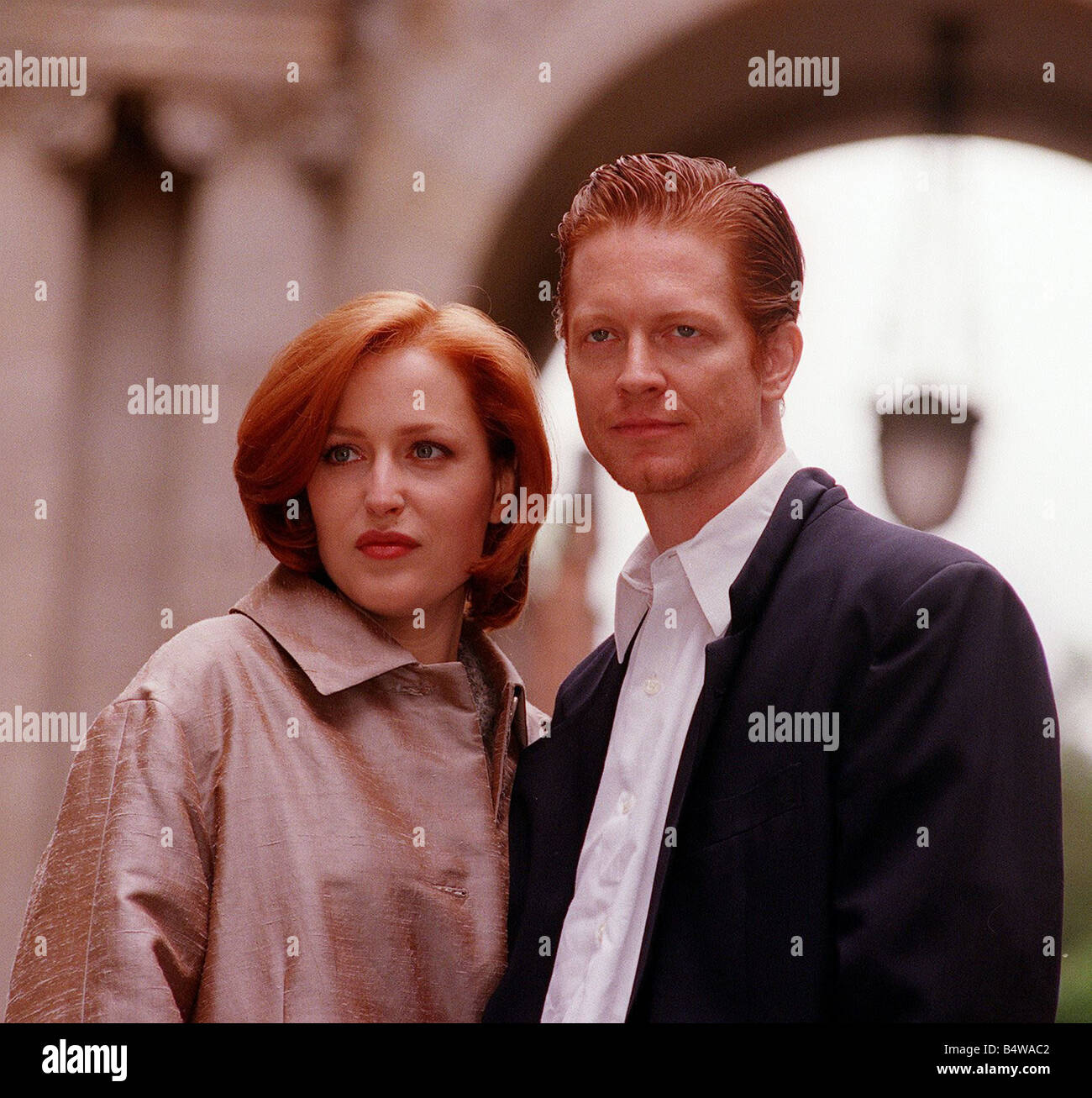 Actress Gillian Anderson the star of the television programme The X Files in Glasgow with Eric Stoltz to make the - Stock Image