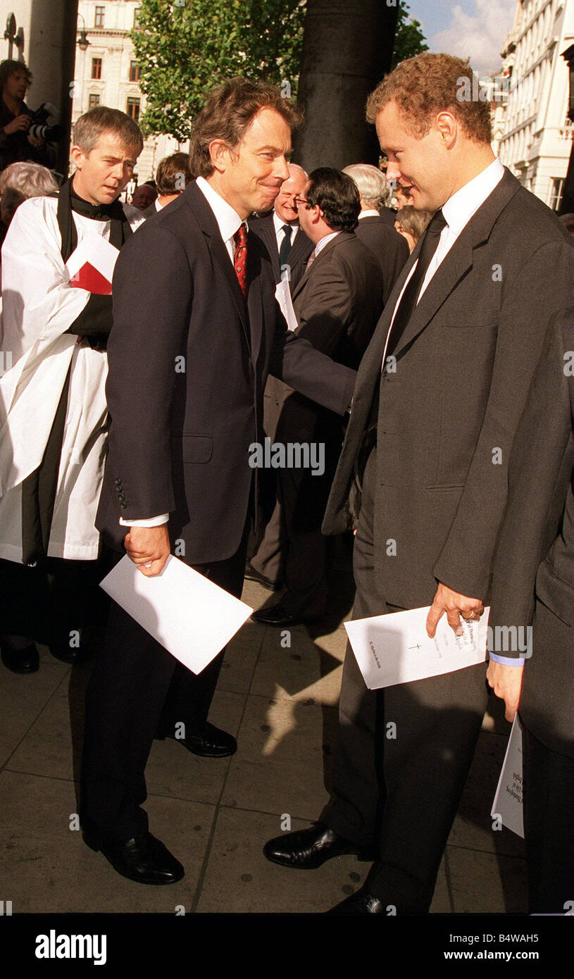 Tony Blair arriving at he memorial service at St Martin s in the field in London for Sir David English Chairman - Stock Image