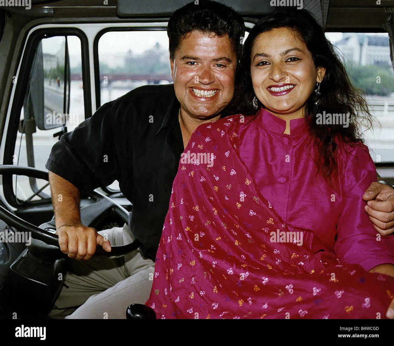 Sudha Bhuchar Actress with Paul Hendry Family Pride TV Program - Stock Image