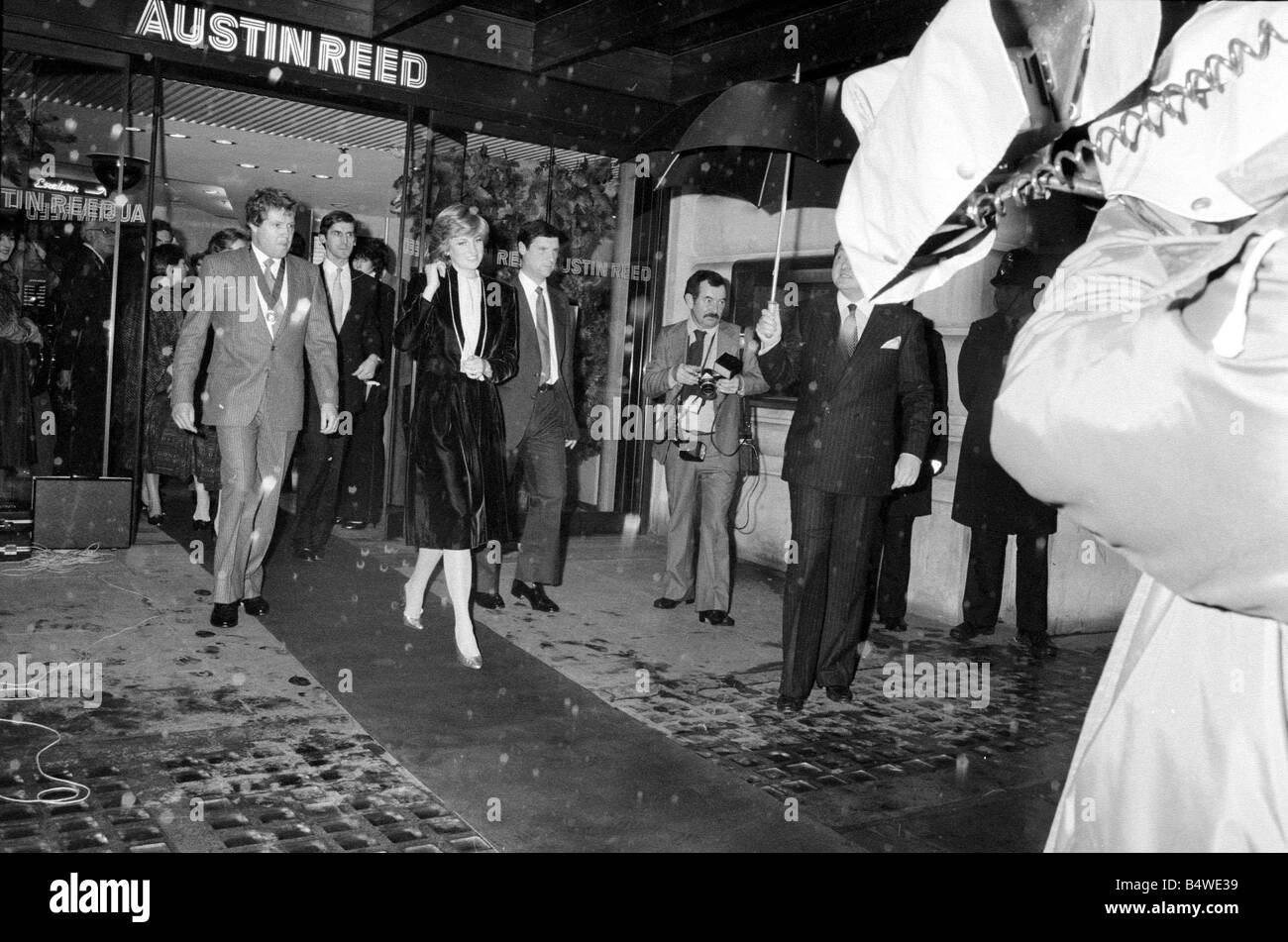 Princess Diana turns on the Christmas lights on Regent Street 1981 Seen here leaving Austin Reed the entrance to - Stock Image