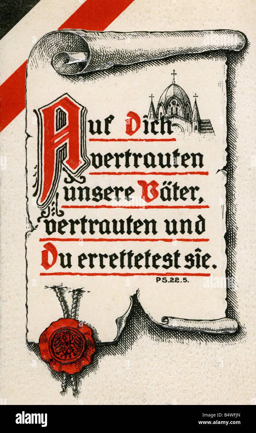 """events, First World War / WWI, military postcards, postcard """"Auf Dich vertrauten unsere Vaeter, vertrauten und Du Stock Photo"""