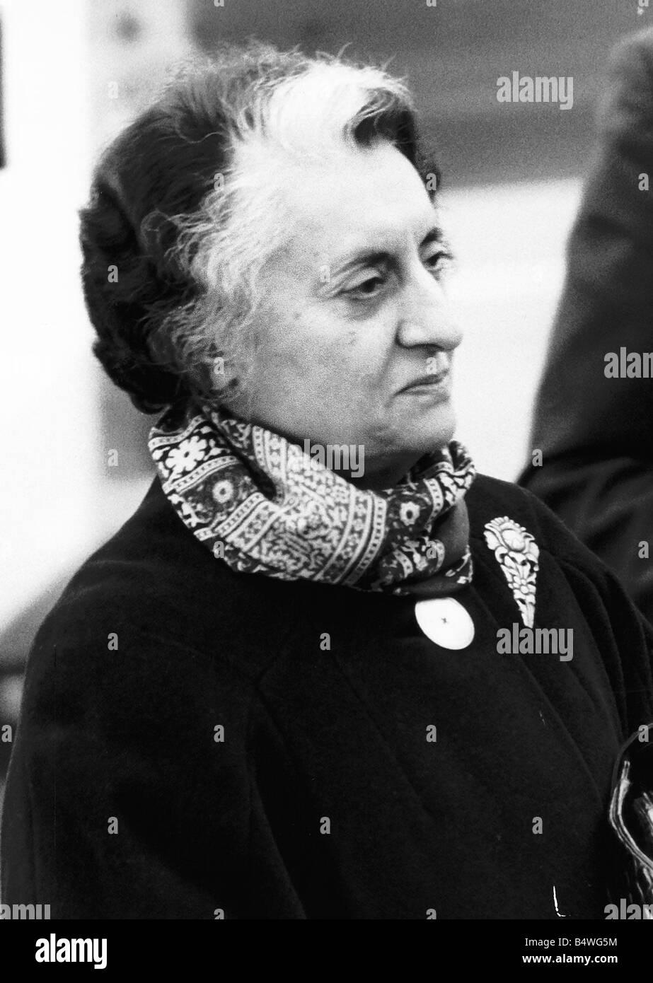 Mrs Indira Gandhi former Prime Minister of India 7th January 1980 Gandhi returned by landslide vote The people of - Stock Image