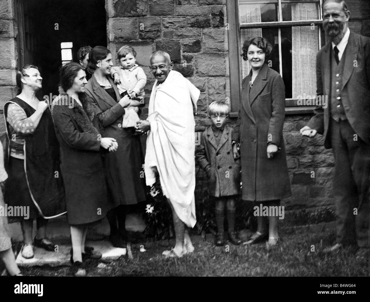 Mahatma Gandhi September 1931 On trip to Britain Gandhi took this opportunity to visit Lancashire cottons mills - Stock Image