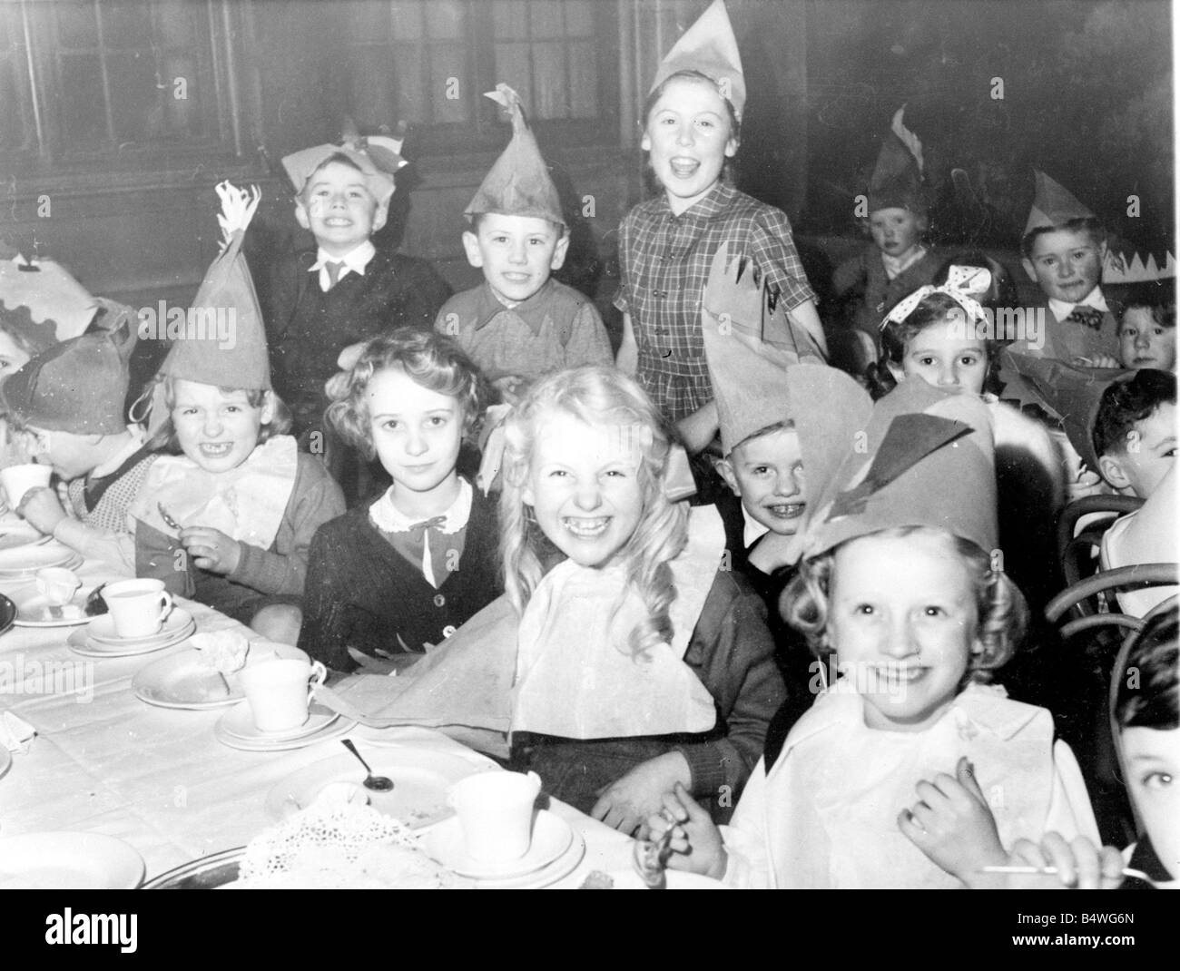 children enjoying themselves at the 1951 daily mirror childrens christmas party - 1950s Christmas