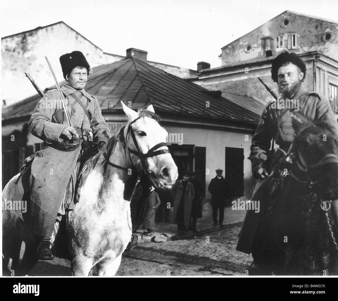 Cossacks in Kielce DM 1383 Box 3 Date The feared Russian Cossacks whose reputation arrived long before they did - Stock Image