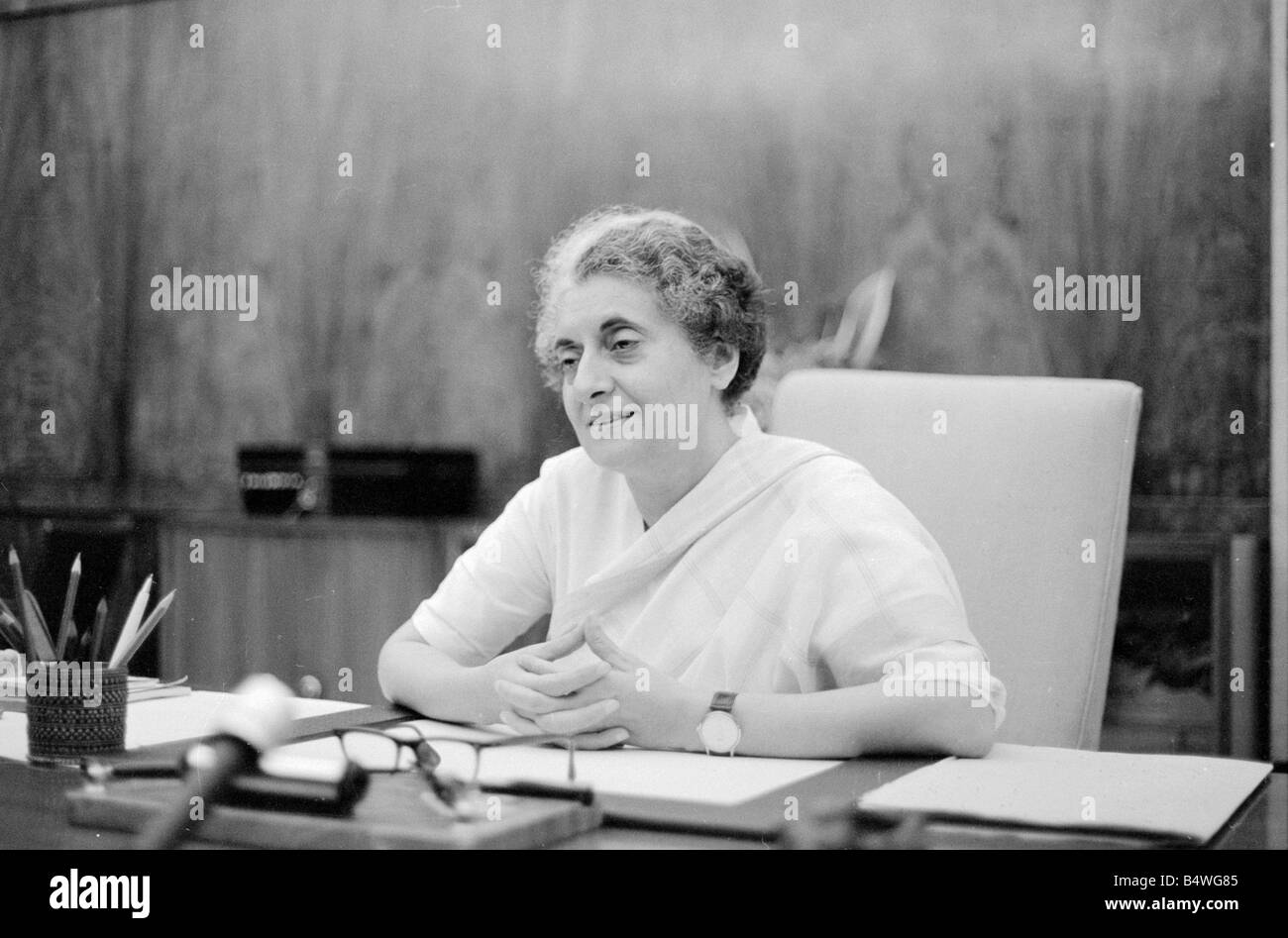 Indian Prime Minister Indira Gandhi seen here in here office in the Parliament building in New Delhi July 1971;71 Stock Photo