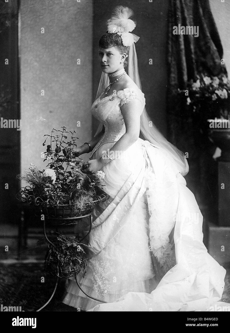 Queen Mary of Teck wearing her wedding dress before her marriage to King George V 1893 - Stock Image